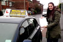 Bex had driving lessons with mitchells female driving school in Dukinfield, Tameside.