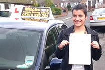 Eleanor had driving lessons with mitchells female driving school in Stalybridge, Tameside.