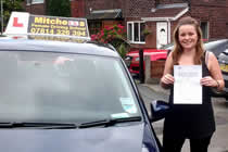 Kiera had driving lessons with mitchells female driving school in Droylsden, Tameside.