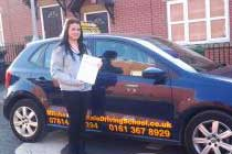 Charlotte had driving lessons with mitchells female driving school in Godley, Tameside.