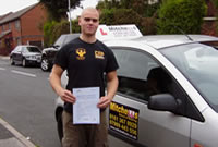 Ryan Passed his driving test after taking Driving Lessons in Romily, stockport with mitchells female driving school