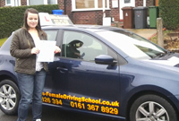 Rachel had driving lessons with mitchells female driving instructor in hyde, Tameside.